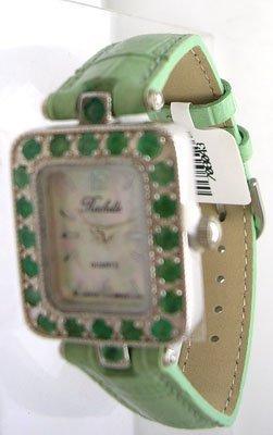 1608: SSilver .66ct Emerald Rochelle Ladies Green Strap