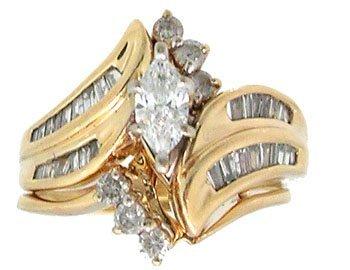 1618: 14KY 1.15cttw Marquise Ctr Diamond Wedding Set Ri
