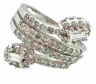 1619: 14KW 1cttw Diamond Rd E-cut Bypass Ring