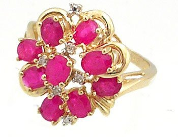 1628: 14KY 1cttw Ruby 9 oval Diamond cluster ring
