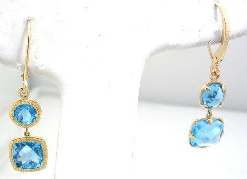 1904: 14KY .75cttw Blue Topaz Bezel Dangle Earring