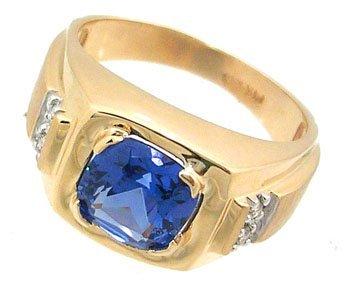 1906: 14KY 2ct London BlueTopaz cush dia mans ring