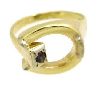 1908: 14KY Sapphire Round HorseShoe ring