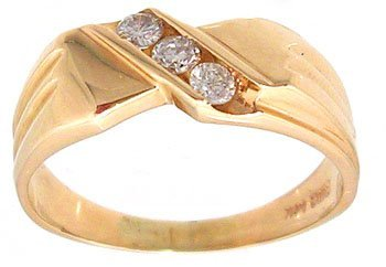 1913: 14KY .20cttw diamond channel mans ring