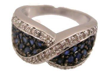 600: 14KW 1.50ct Sapphire .28ct Diamond ring
