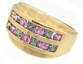 602: 10KY 1cttw green & pink Sapphire channel band ring