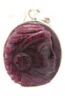605: SSilver Ruby Indian Profile Cameo Pendant