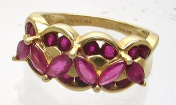 606: 14KY 1.20ctw Ruby Marquise Round band Ring