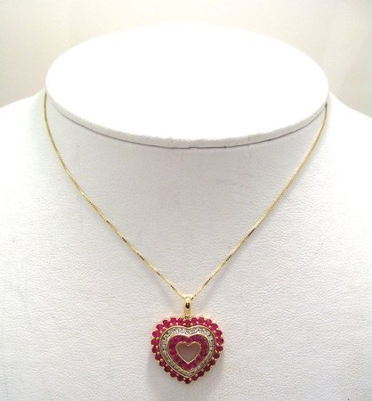 607: 14KY 2ct Ruby .15 Dia rd Heart Necklace FREE CHAI