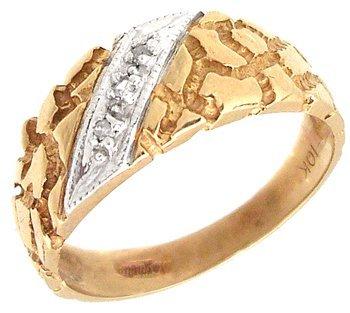 614: 10KY Diamond Nugget 2tone Mens Ring