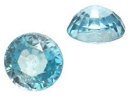 619: 2.80ct Blue Zircon Round Loose 7x5mm