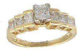 846: 14KY 1.16cttw Princess Ctr Diamond Step Ring