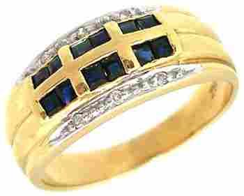 14KY .50ct Sapphire Princess diamond ring
