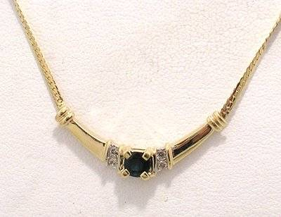 14KY .75ct Sapphire cushion .08ct Dia bar necklace