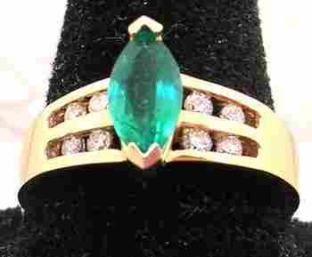 14KY .55ct Marq Emerald .15cttw Diamond Channel Ri