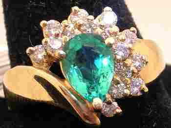 14KY .63ct Pear Emerald .45cttw Diamond Fan Ring