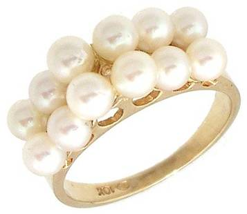 14KY 3.5mm Freshwater Pearl 2 Row Band Ring