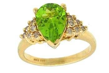 14KY 1.50ct Peridot Pear .33ct Diamond Rd Ring