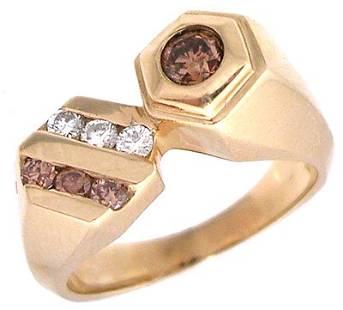 14KY .45cttw Brown White Diamond Hexagonal Ring