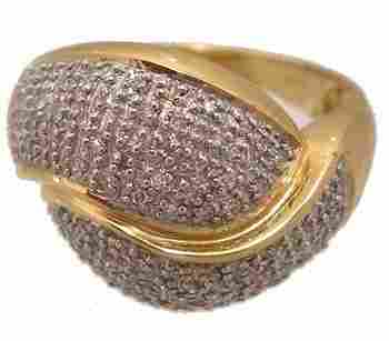 18KY .50ct diamond pavé bypass knot 2 tone ring