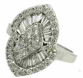 14KW 1.10ct Diamond Bagg Rd Pyramid Ring