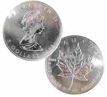 SSilver 1988 Canadian Elizabeth II 5 Dollar Coin