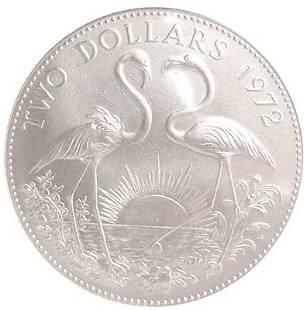UNC Silver Bahamas $2 Flamingo Coin 1972