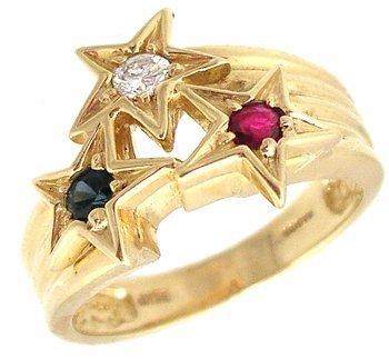 1204: 14KY Ruby Sapphire Diamond Star American Ring 7gm