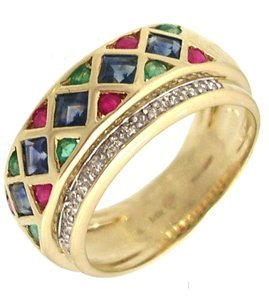 1205: 14KY 1cttw Emerald Ruby Sapphire Dia band ring