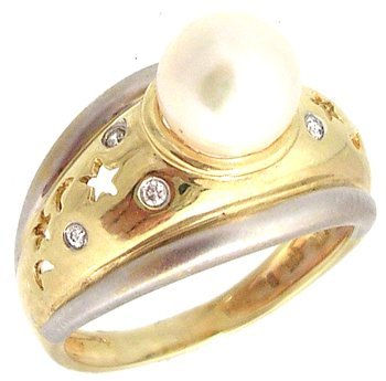 1208: 14KY 7.5mm White Pearl Moon Star Ring