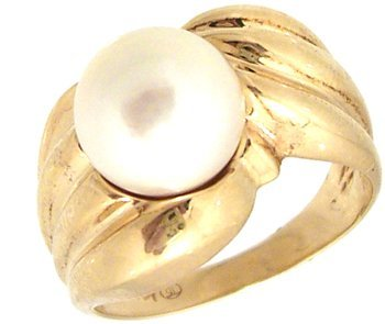1209: 14KY 8.5mm White/Pink Pearl Ring