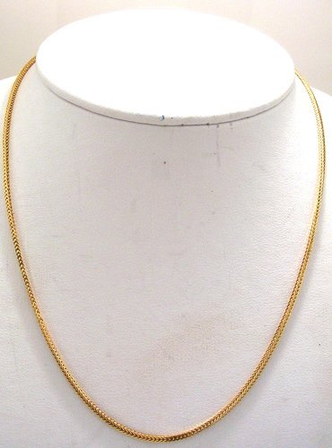 1213: 18KY Wheat Box Link Necklace 8.6grams