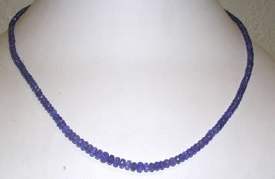 1216: 50ct Tanzanite SIngle Strand Beaded Necklace