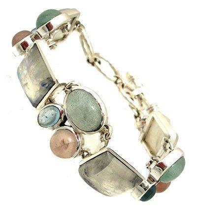 1218: Sterling Moonstone Aqua B Topaz R Quartz Bracelet