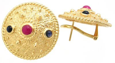 605: 14KY Cabachon Ruby Blue Saph Aztec Disc Earrings 1