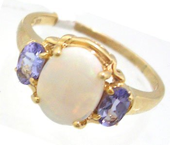 606: 10KY 1.20ct Opal Oval .34ct Tanzanite Oval Ring