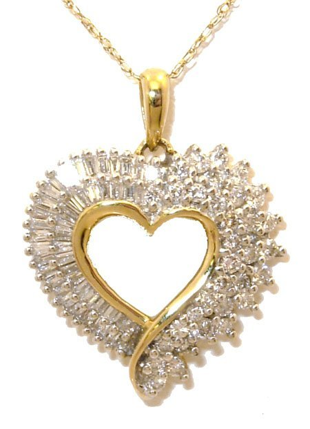 610: 14KY 1cttw Diamond Round Baguette Heart Necklace