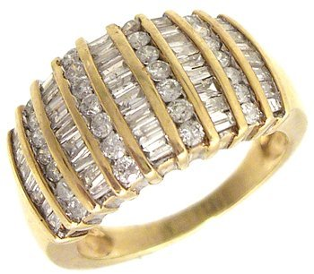 611: 10KY 1cttw Round Baguette Diamond 9 Row Fashion Ri