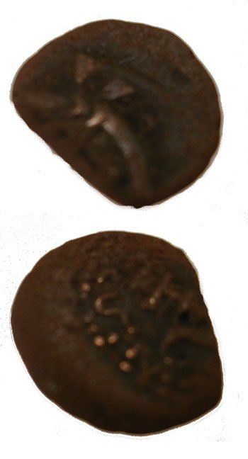 619: Bronze Widows Mites Coin 103-76BC Dead Sea