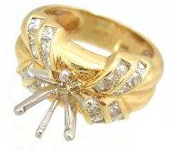 686: 14KY 1cttw Diamond princess cut Semi Mount Ring