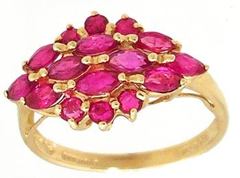 1900: 14KY .90ctw Ruby Marquise Round cluster Ring