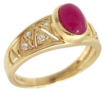 1901: 14KY .75ct Ruby Oval Cab Dia Filigree V Band Ring
