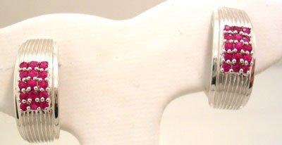 1903: 18KW .80cttw Round Rubies Semi Hoop Earrings