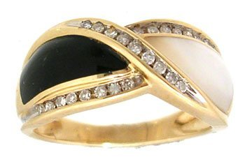 1904: 14KY Onyx MOP .16ct Diamond Round Swirling Ring