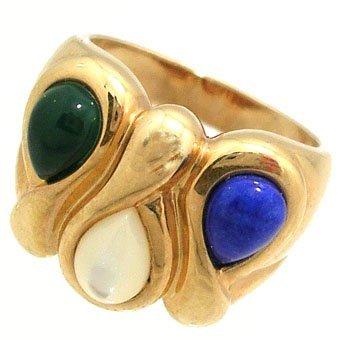 1905: 14KY Jade Lapis MOP Pear Band Ring