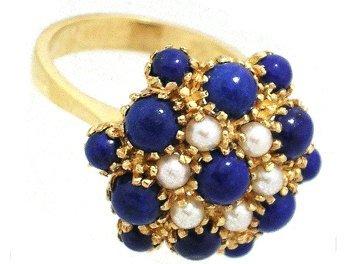 1906: 18KY Lapis White Pearl Flower Ring 8.8gm