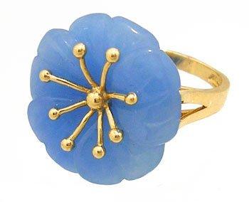 1908: 14KY Blue Jade Flower Ring