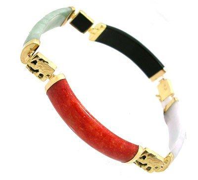 1910: 14ky multicolor jade mini barrel 7inch bracelet