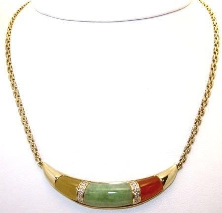 1911: 14KY Multi-Color Jade .11ct Dia Square Link Neckl