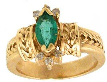 1912: 14KY .63ct Marq Emerald .10cttw Diamond Etruscan